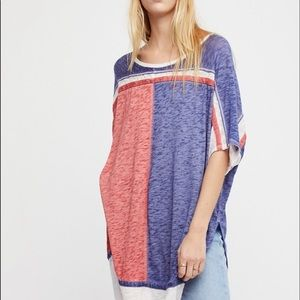 Free People Tops - Free People Burnout Tunic Top Pink & Blue Small